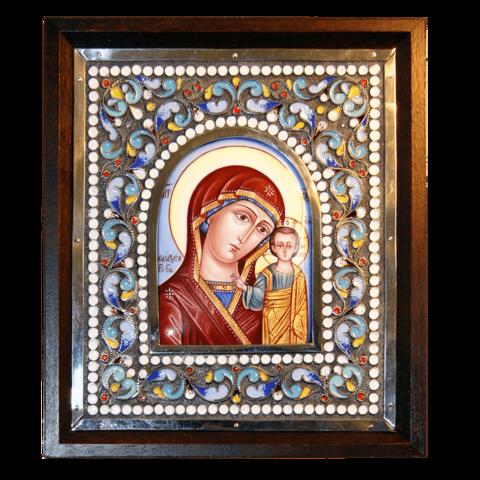 Икона финифть Пресвятой Богородицы