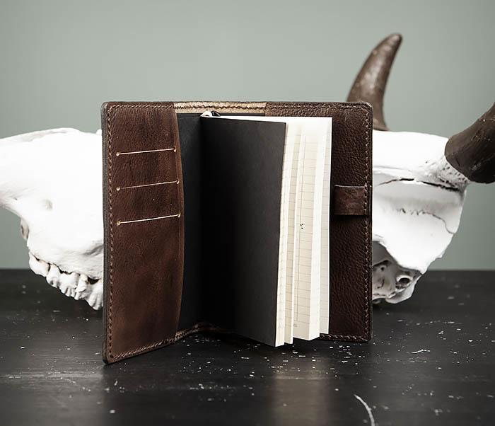 BC206-2 Крутой кожаный блокнот «Борода» ручной работы (А6) фото 06