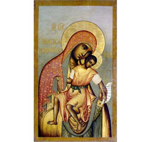 Икона Богородицы Елеуса Киккская на левкасе на дереве мастерская Иконный Дом