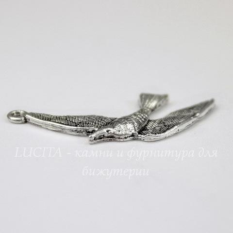 "Подвеска ""Птица"" (цвет - античное серебро) 36х17 мм"