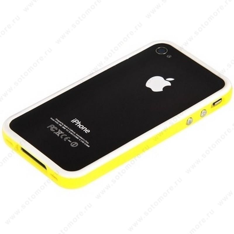 Бампер для iPhone 4s/ 4 белый с желтой полосой