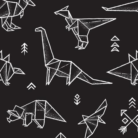 Черно-белый дино оригами