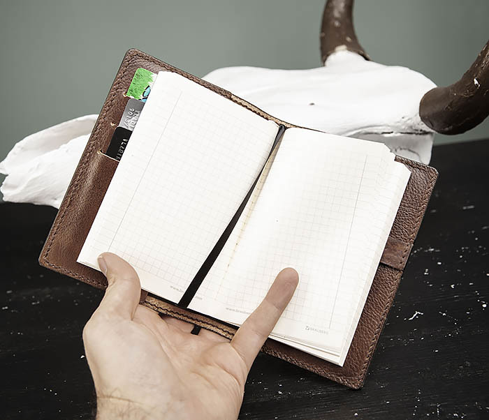 BC206-2 Крутой кожаный блокнот «Борода» ручной работы (А6) фото 09