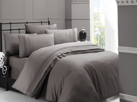 Комплект постельного белья DO&CO Сатин  жаккард DELUX SQUARE 2 спальный (Евро) цвет серо-коричневый