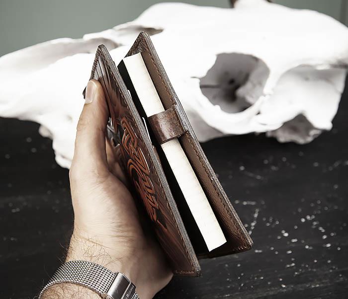 BC206-2 Крутой кожаный блокнот «Борода» ручной работы (А6) фото 11