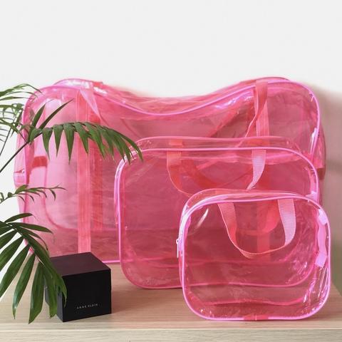 Тонированная прозрачная сумка в роддом с 2 косметичками, розовая