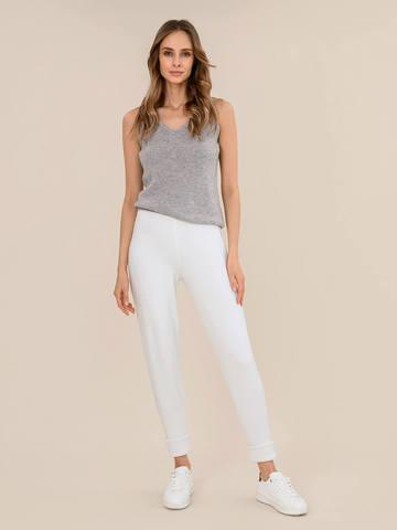 Женские брюки молочного цвета из шерсти - фото 2