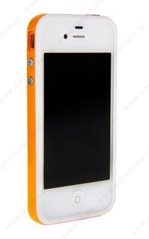 Бампер для iPhone 4s/ 4 белый с оранжевой полосой