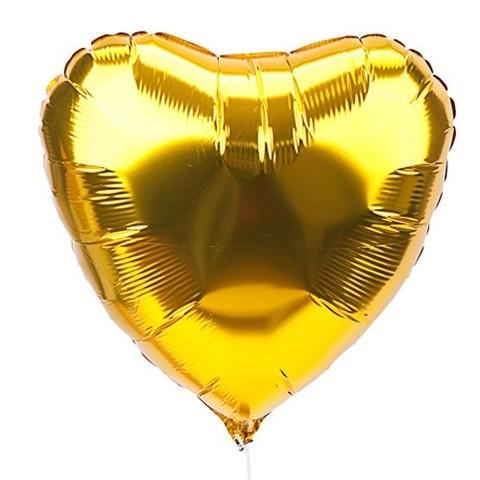 Сердце Металлик Золотой (46 см)