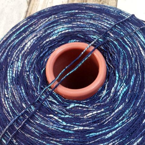 Хлопок с вискозой CASA DEL FILATO / COLORADO 150 синий с серебром