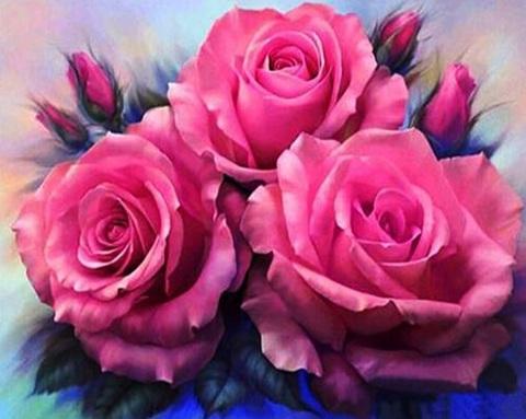 Алмазная Мозаика 30x40 Три розовые розы