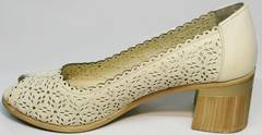 Туфли на каблуке с открытым носком женские летние Sturdy Shoes 87-43 24 Lighte Beige.