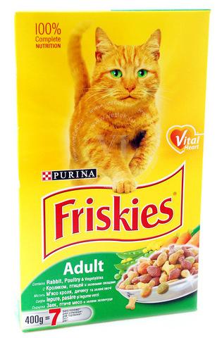 Friskies Сухой корм для кошек с кроликом, птицей и овощами, 0,4 кг