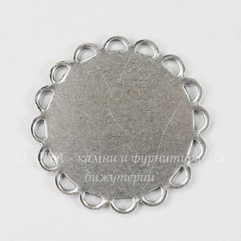 """Сеттинг - основа """"Ажурный"""" для камеи или кабошона 18 мм (оксид серебра)"""