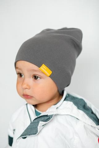 Детская шапка хлопковая гладкая серо-бежевая