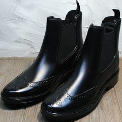 Резиновые сапоги женские короткие W9072Black.