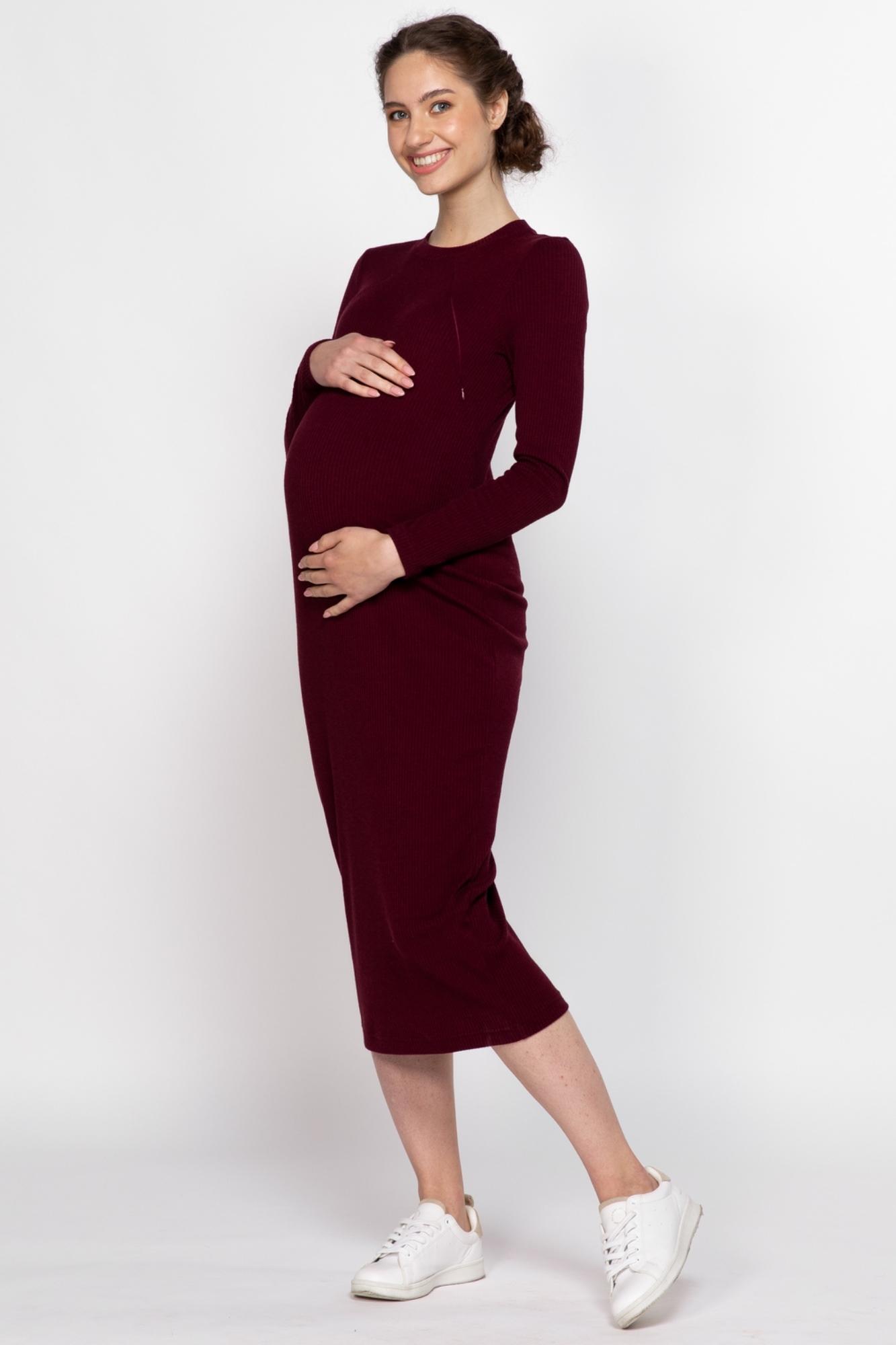 Платье для беременных и кормящих 11392 бордовый