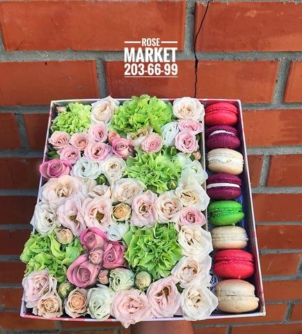 Цветы и macaron ( 8 шт.) #1480