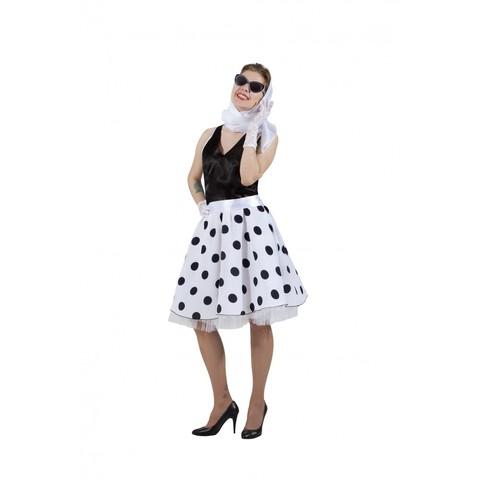 Платье в стиле 50-х черный горох и черный верх