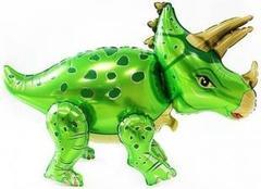 Шар (36''/91 см) Ходячая Фигура, Динозавр Трицератопс, Зеленый, в упаковке 1 шт.