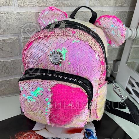 Рюкзак-Сумка с пайетками и ушами Перламутровый блестящий-Розовый матовый