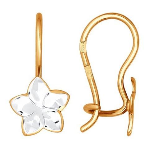 024818 - Серьги из золота с алмазной гранью для девочек