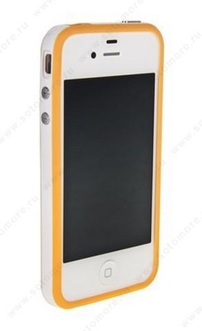 Бампер для iPhone 4s/ 4 оранжевый с белой полосой