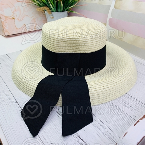 Оригинальная женская овальная шляпа соломенная канотье с чёрной лентой (цвет: молочный)