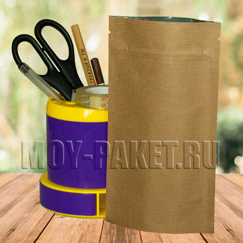 Крафт пакет дой-пак с замком зип-лок  металлизированный 105x185 мм