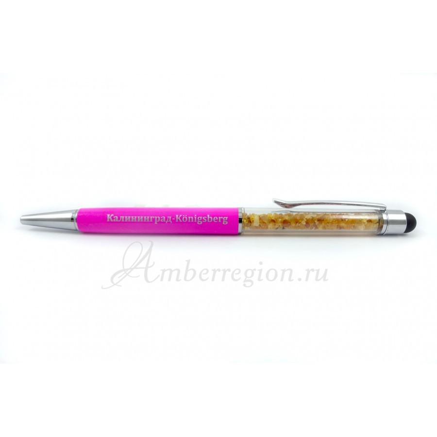Ручка-стилус с янтарем (розовая)