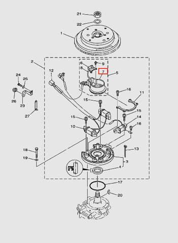План-шайба импульсной катушки  для лодочного мотора T40 Sea-PRO (8-7)