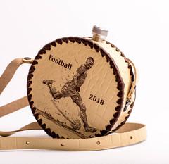 Фляга круглая в кожаном чехле «Football-2018», 0,5 л, фото 2