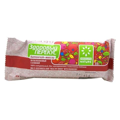 Батончик-мюсли Здоровый перекус с клюквой, 55 гр. (Главводком)