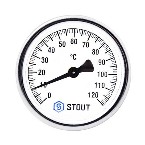 Термометр биметаллический аксиальный STOUT - 1/2