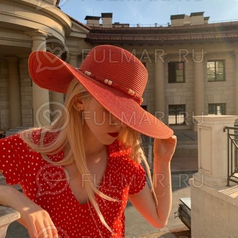 Коралловая соломенная женская летняя шляпа
