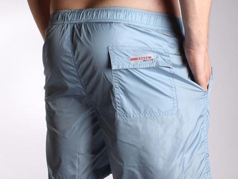 Мужские шорты пляжные светло-голубые Prada Milano Classic Shorts