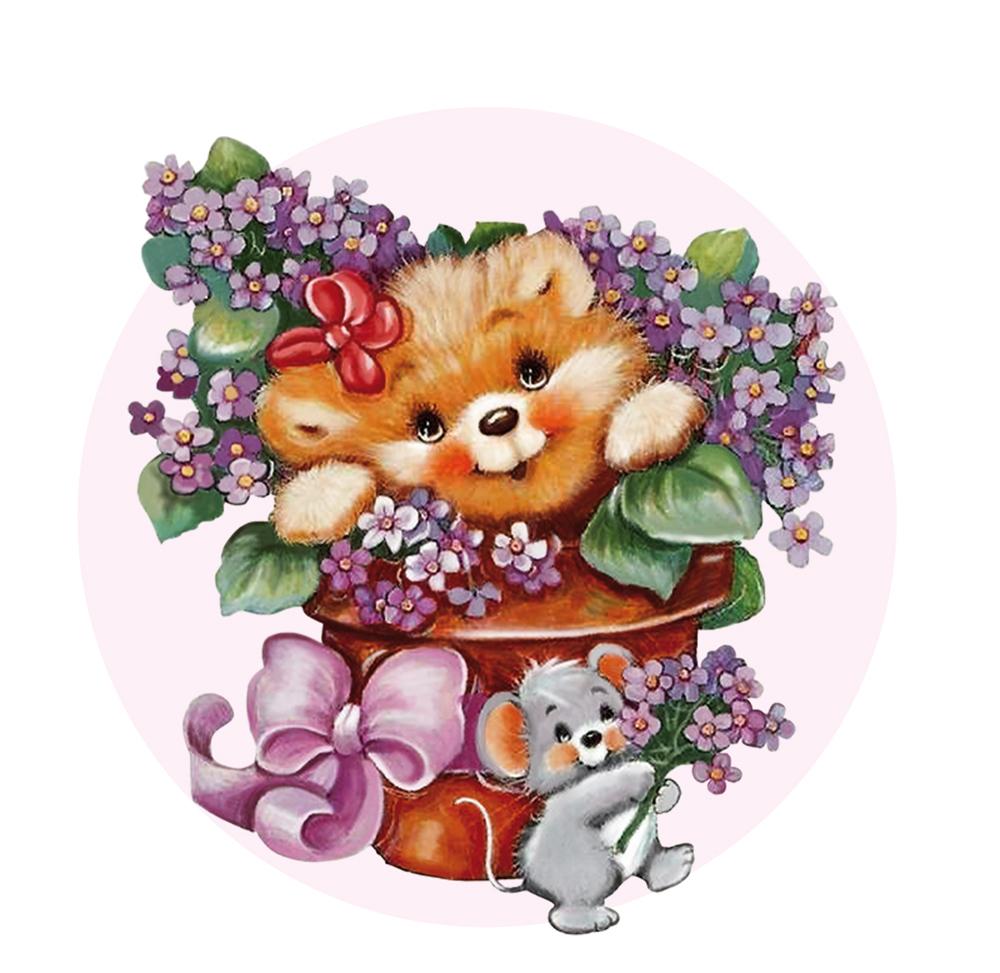 Папертоль Медвежонок с цветами — главное фото сюжета.