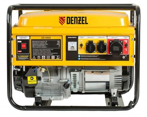 Генератор бензиновый GE 8900, 8.5 кВт, 220 В/50 Гц, 25 л, ручной старт Denzel