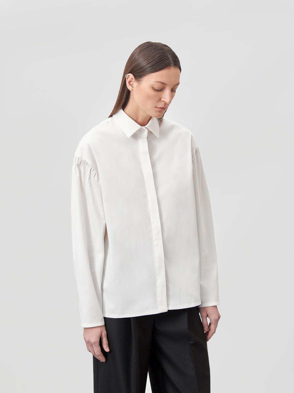 Рубашка Nadia с объёмными рукавами, Молочный