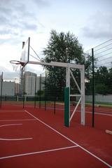 Стойка Г-образная баскетбольная уличная стационарная, вынос 325см. (щит 1800х1050мм. оргстекло 10мм, амортизационное кольцо, сетка).
