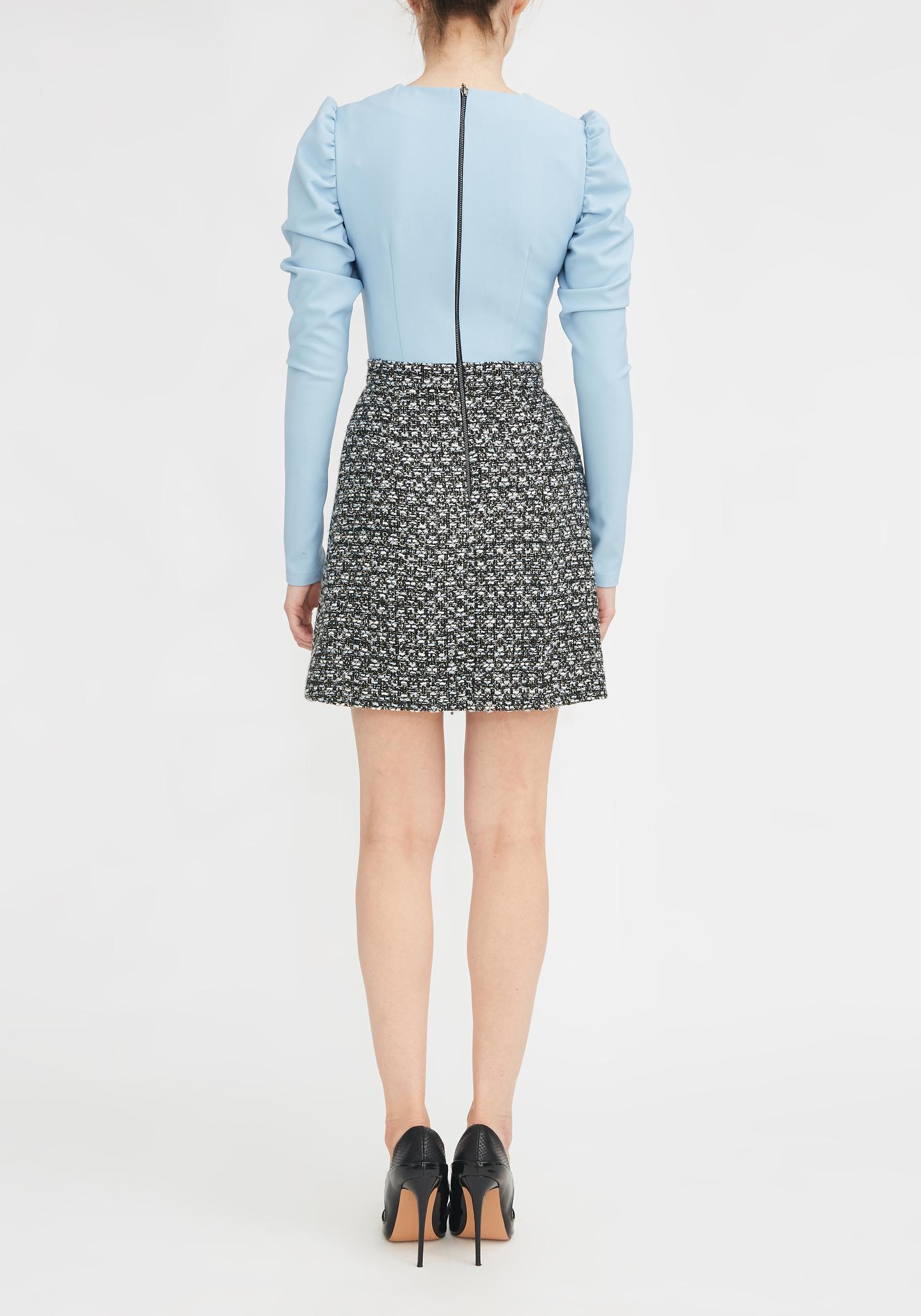 Платье комбинированное из голубого твида