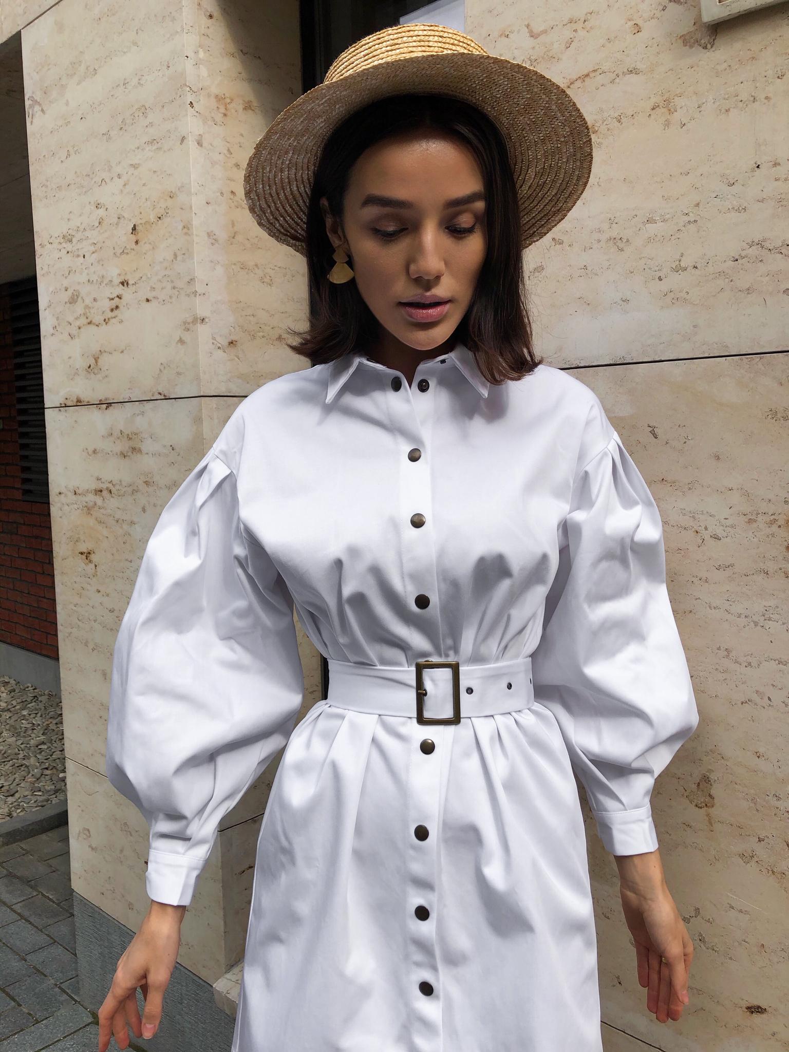Платье-рубашка с поясом (oversize) (белый)