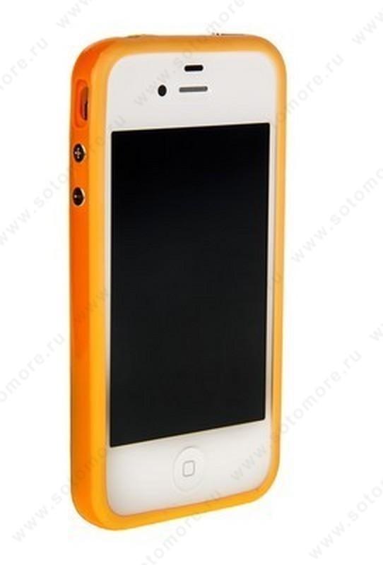 Бампер для iPhone 4s/ 4 оранжевый с оранжевой полосой