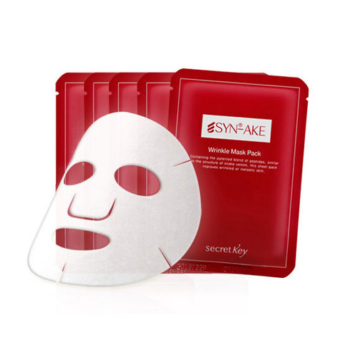 SECRET KEY SYN-AKE Маска для лица гелевая с пептид змеин. яда SYN-AKE Anti Wrinkle & Whitening Mask 1P