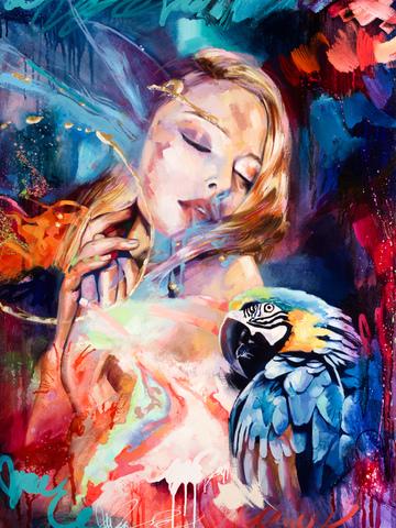Картина раскраска по номерам 40x50 Девушка с попугаем