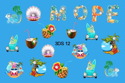 3D слайдер для ногтей со стразами, 3DS- 12
