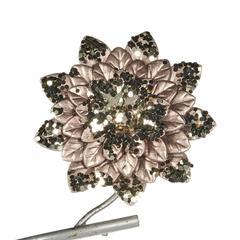 Цветок на клипсе 12см Goodwiil Metallic Flower On Clip шампань с черным