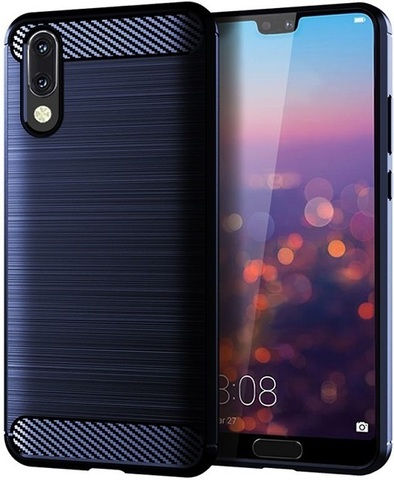 Чехол Huawei P20 цвет Blue (синий), серия Carbon, Caseport