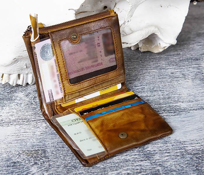 WL304-2 Винтажный кошелек из натуральной кожи фото 08
