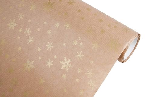 Бумага крафт 40г/м2, 70 см x 10 м, Снежинка, цвет: золотой